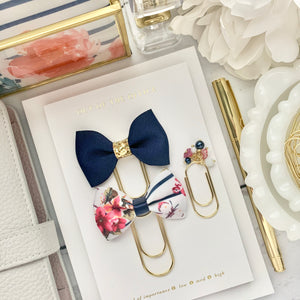 Floral Stripe and Navy Bundle - Bow and Dangle Bundle