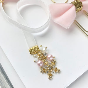 Pink and White Velvet Gold Snowflake Charm Bookmark