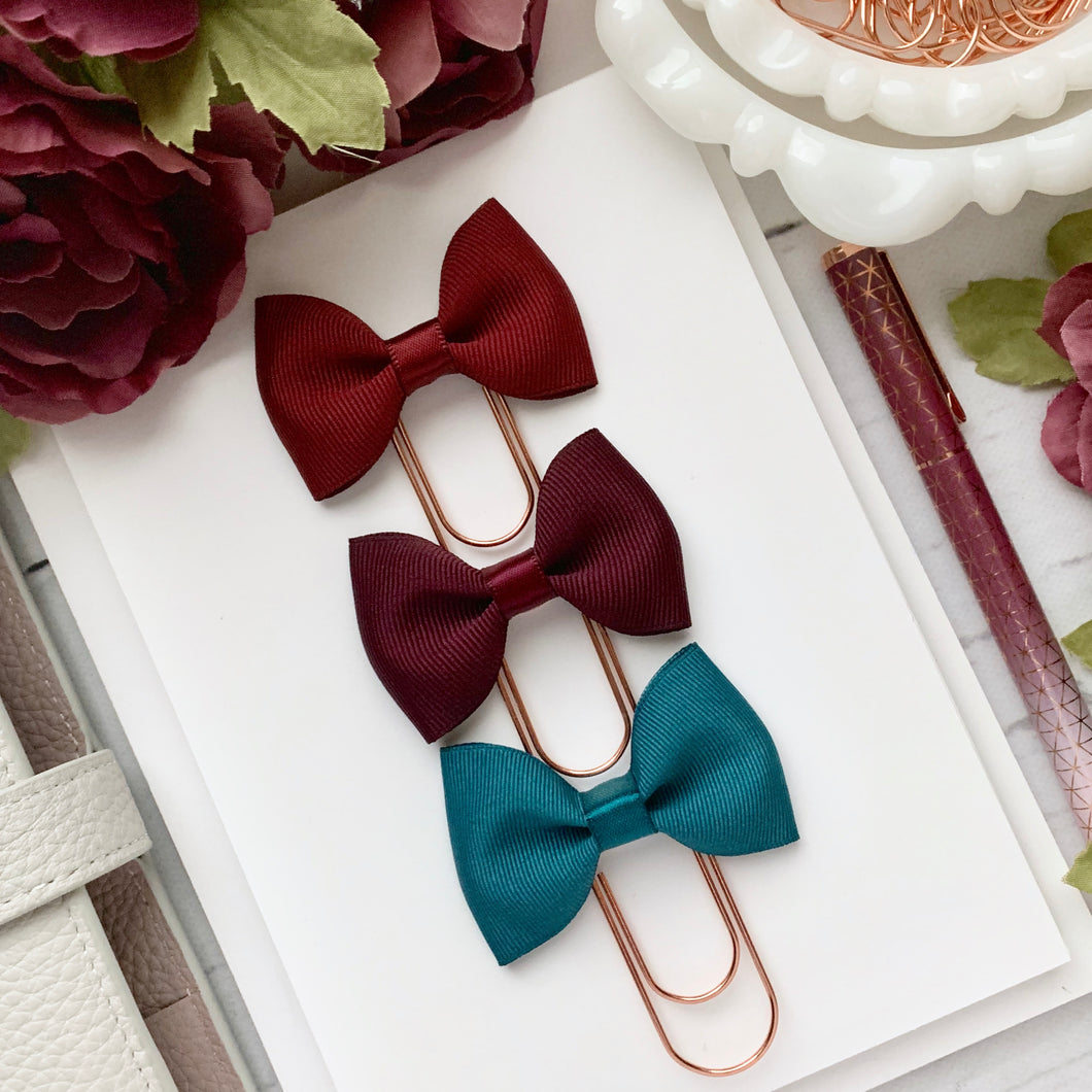 Deep Red - Red Plum - Teal Ribbon Bow on Wide Rose Gold Paperclip