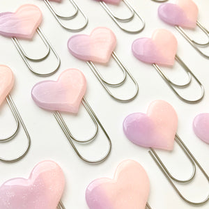 Pink Jelly Heart Cabochon on Wide SILVER Paperclip