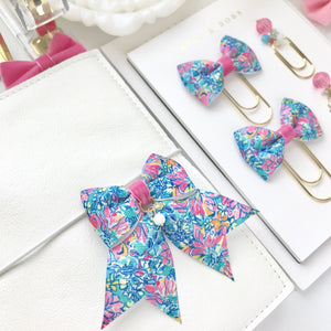Multicolor Floral Ribbon Bow Planner Charm