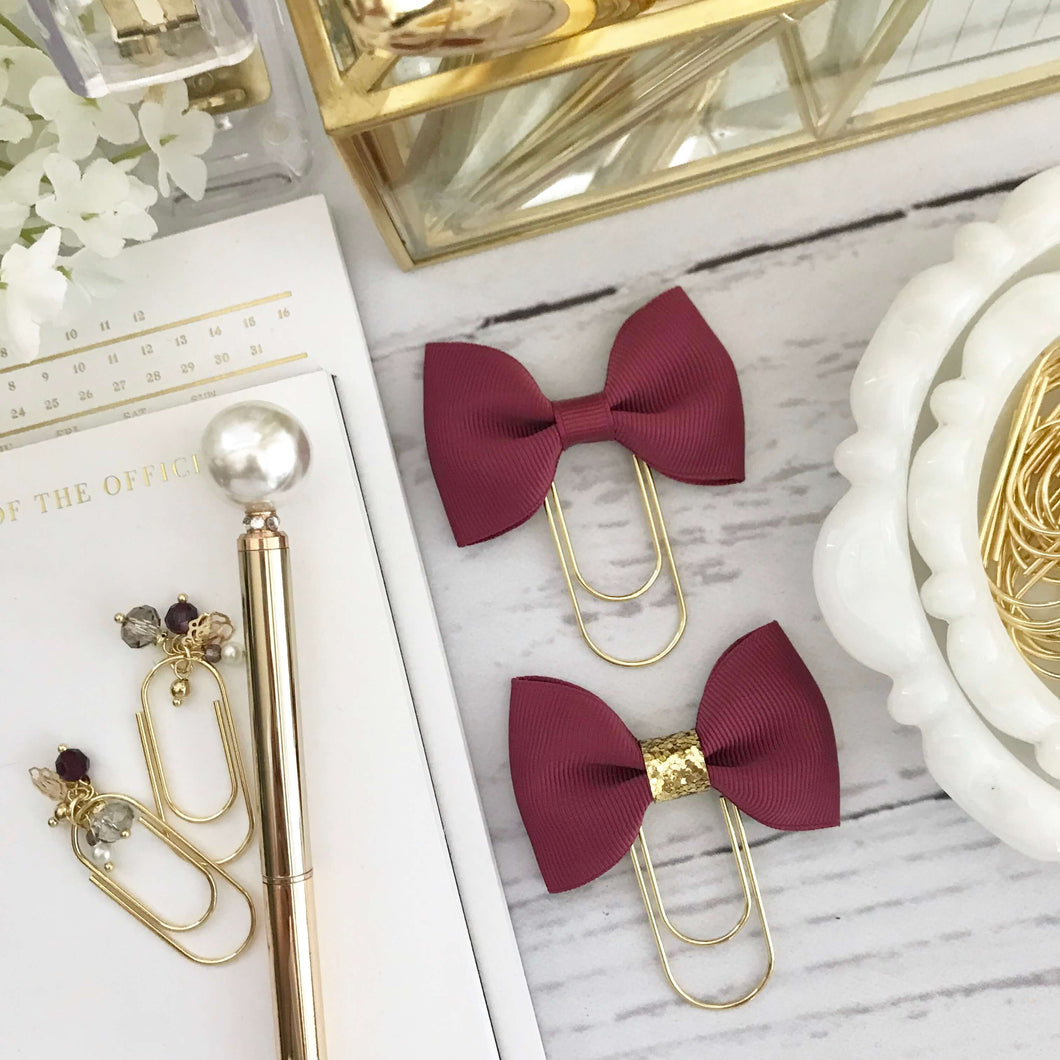 Wine Ribbon Bow on Wide Gold Paperclip