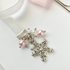 Pink and White Velvet Silver Snowflake Bow Charm Bookmark