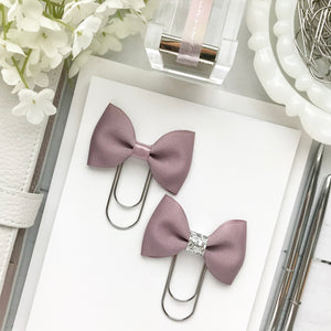 Dusty Lavender Ribbon Bow on Wide Silver Paperclip