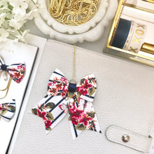 Load image into Gallery viewer, Floral Navy Stripe Bow Planner Charm