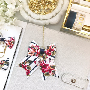 Floral Navy Stripe Bow Planner Charm