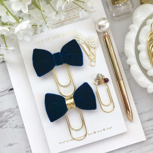 Navy Blue Velvet Ribbon Bow on a Wide Gold Paperclip