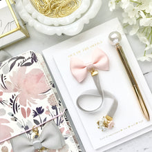 Load image into Gallery viewer, Blush and Grey Velvet Ribbon Charm Bookmark