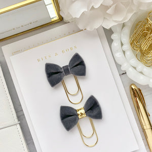 Grey Velvet Bow on Wide Gold Paperclip