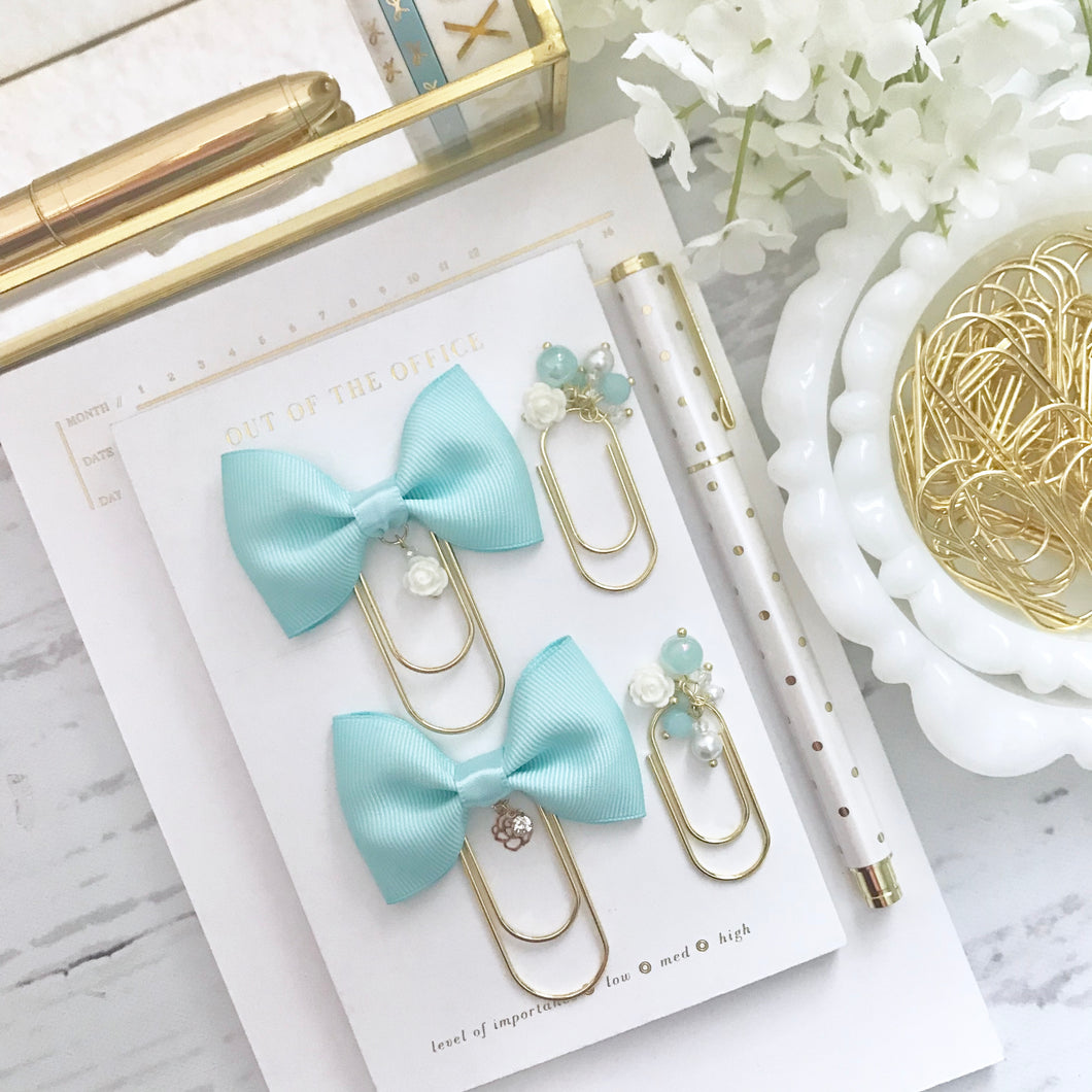 Light Aqua Blue Bow W/Charm on Wide GOLD Paperclip