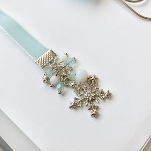 White and Aqua Blue Velvet Silver Snowflake Charm Bookmark