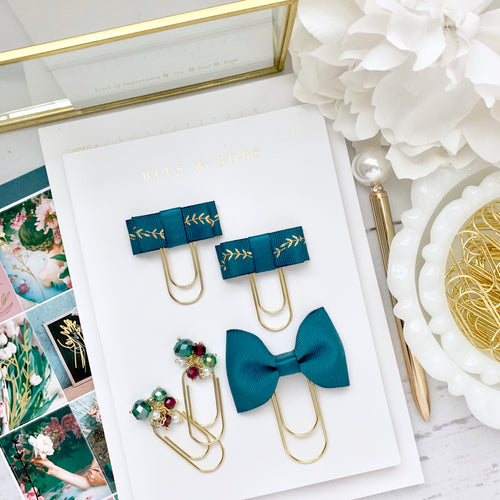 Teal Gold Leaf Double Bow on Mini Wide Gold Paperclip