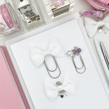 Load image into Gallery viewer, White and Iridescent Glitter Bow Bundle