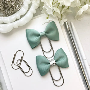 Green Ribbon Bow on Wide Silver Paperclip
