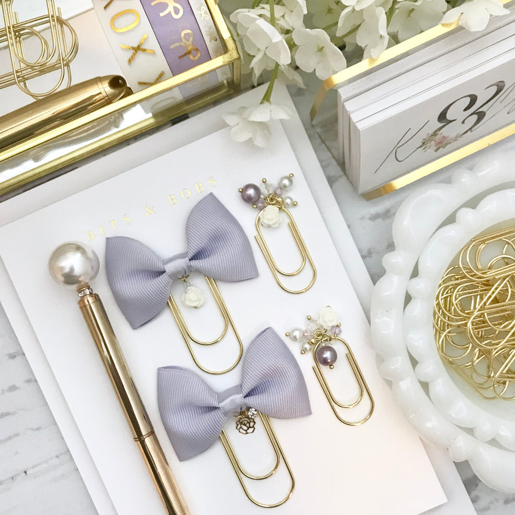 Lavender Ribbon Bow W/ Flower Charm on Wide GOLD Paperclip