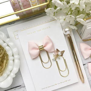 Blush Pink Ribbon Bow on Wide Gold Paperclip