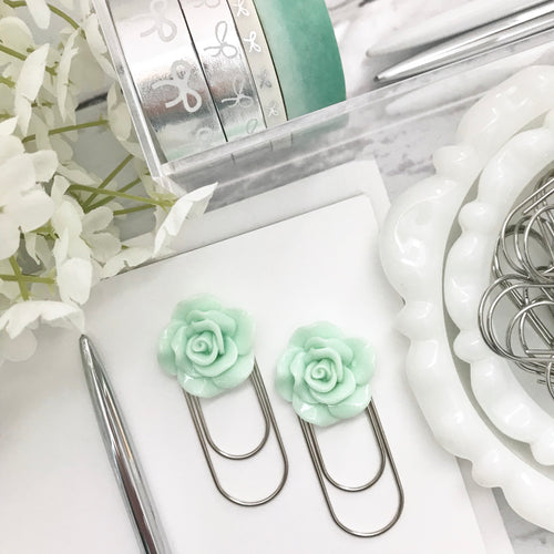 Mint Green Rose Cabochon on Wide SILVER Paperclip