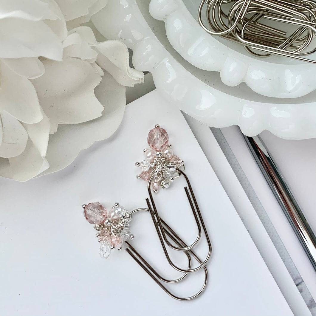 Silver Dusted Pink Bead Dangle on Mini Wide Silver Paperclip