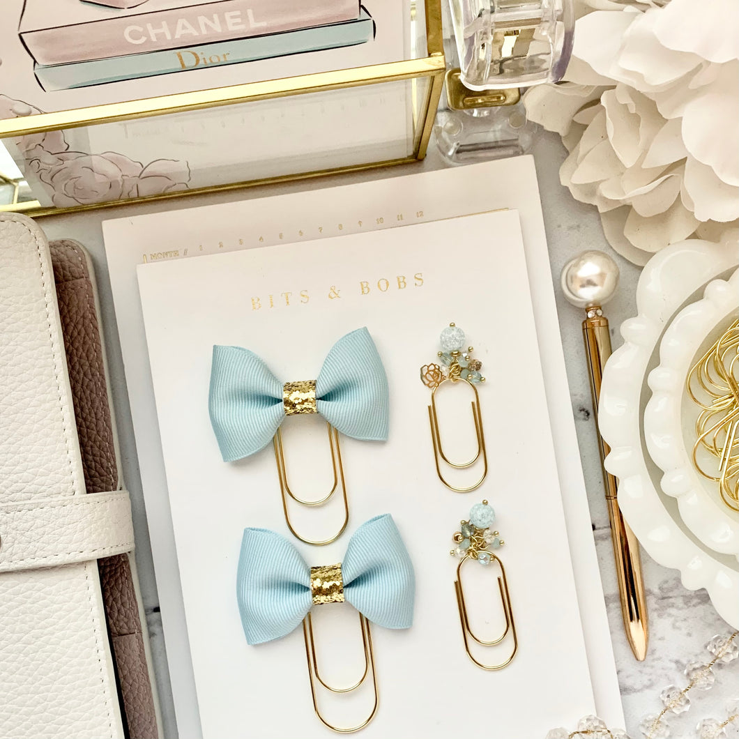 Ice Blue Ribbon Bow on Wide Gold Paperclip