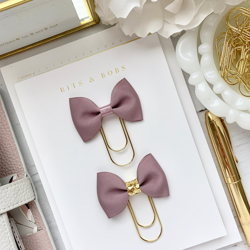 Dusty Lavender Ribbon Bow on Wide Gold Paperclip