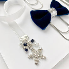 Load image into Gallery viewer, Navy Blue and White Velvet Silver Snowflake Charm Bookmark