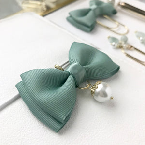 Green Double Bow Planner Charm