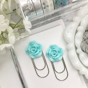 Blue Rose Cabochon on Wide SILVER Paperclip