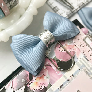 Dusty Blue Double Bow on Wide Silver Paperclip