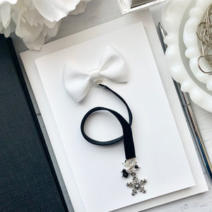 White and Black Snowflake Velvet Charm Bookmark