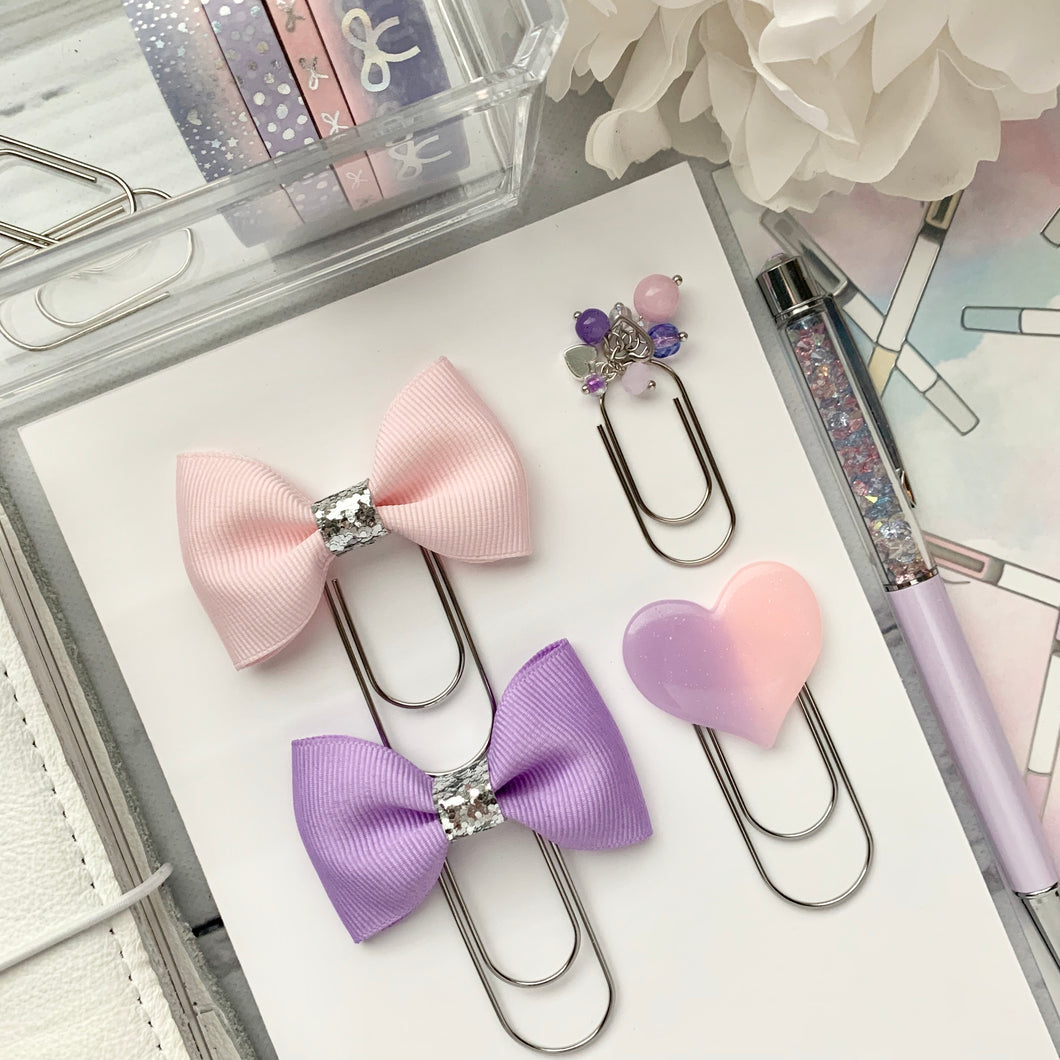 Bubblegum Pink and Purple - Bow and Dangle Bundle