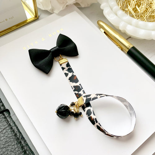 Black Ribbon Bow Charm Animal Print Bookmark