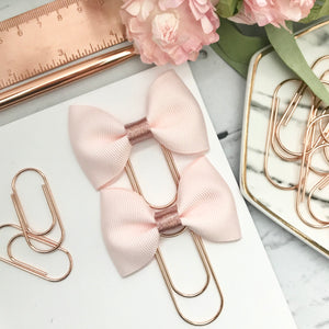 Blush Pink Ribbon Bow on Wide Rose Gold Paperclip