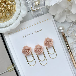Beige Rose Cabochon on Wide Gold Paperclip