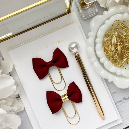 Deep Red Ribbon Bow on Wide Gold Paperclip