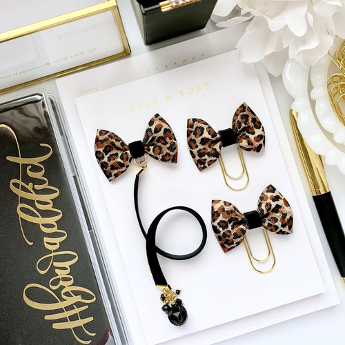 Leopard Print Ribbon Bow and Black Velvet Ribbon Charm Bookmark