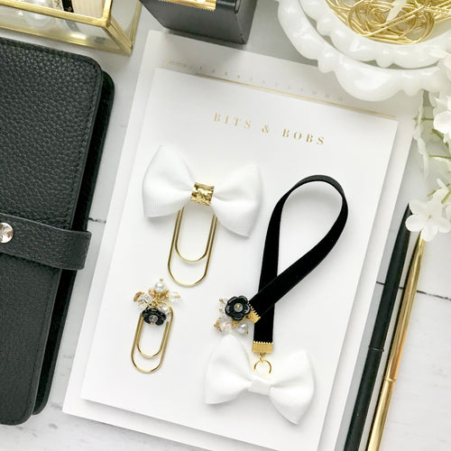 Black and White Velvet Ribbon Charm Bookmark