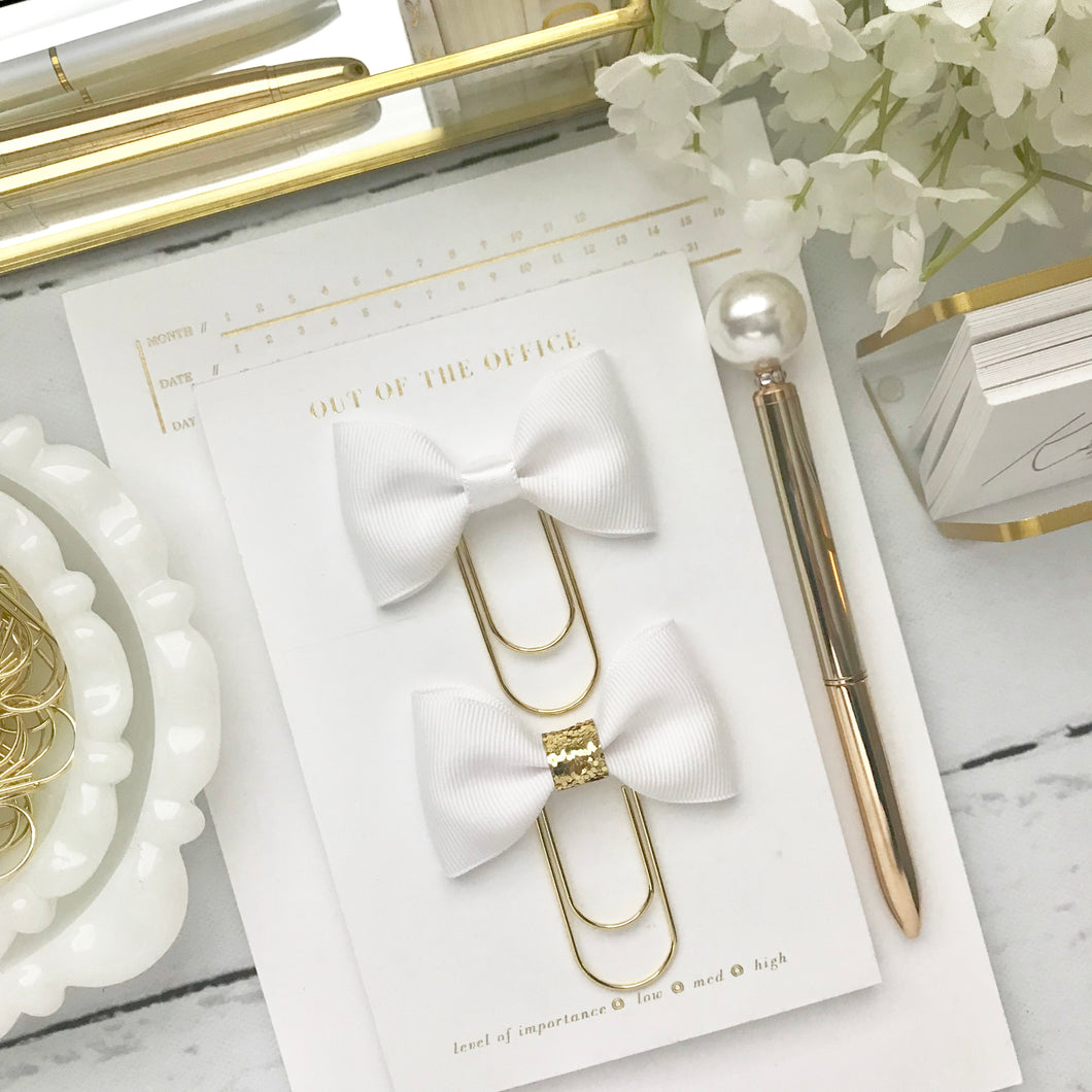 White Ribbon Bow on Wide Gold Paperclip