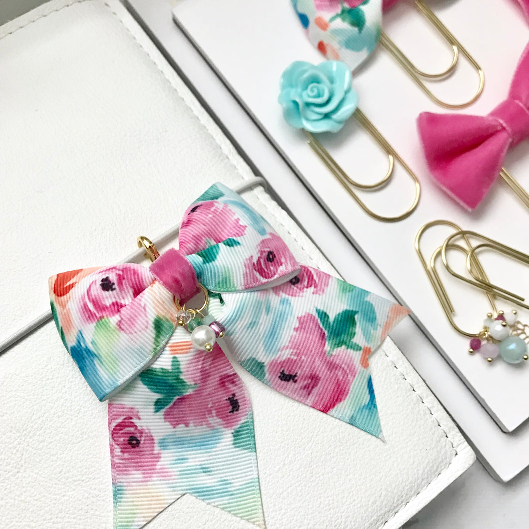 Watercolor Floral Ribbon Bow Charm - GOLD
