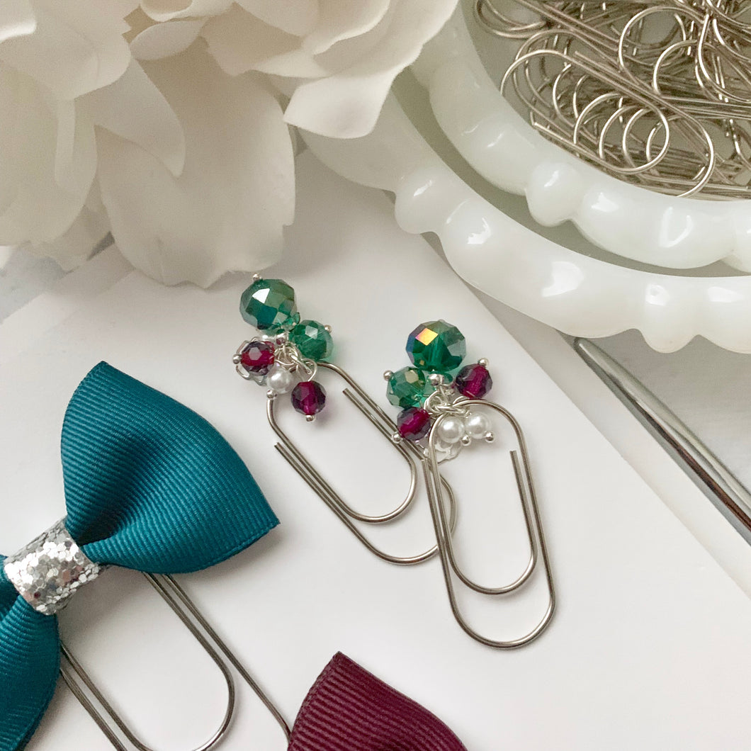 Teal and Silver Rose Charm Bead Dangle on Mini Wide Silver Paperclip