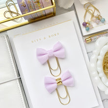 Load image into Gallery viewer, Light Purple Velvet Ribbon Bow on Wide Gold Paperclip