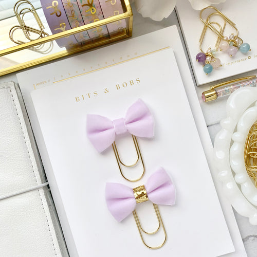 Light Purple Velvet Ribbon Bow on Wide Gold Paperclip