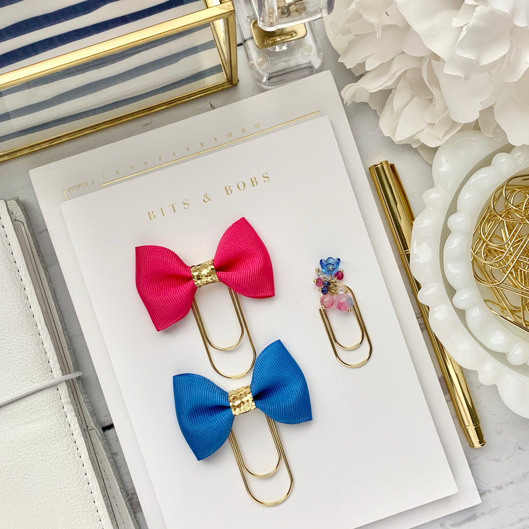Hot Pink and Blue - Bow and Dangle Bundle