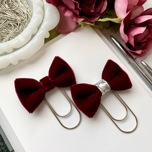 Burgundy Velvet Bow on Wide Silver Paperclip