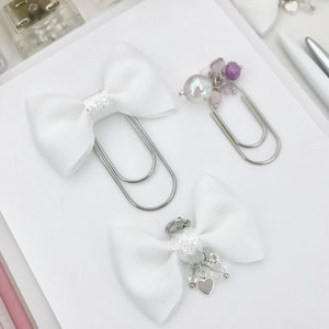 White and Iridescent Glitter Bow Bundle