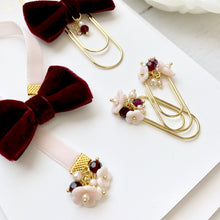 Load image into Gallery viewer, Burgundy and Blush Velvet Ribbon Charm Bookmark