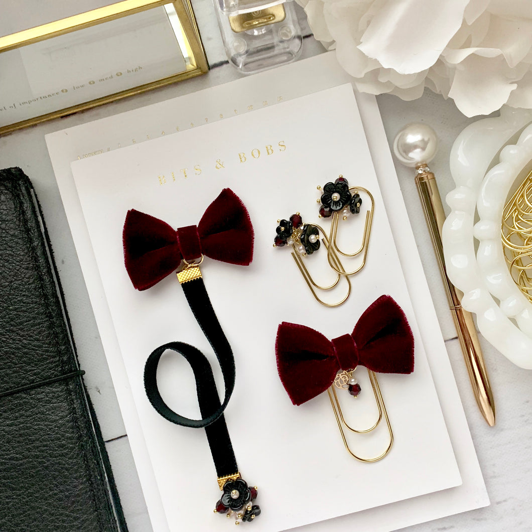 Black and Burgundy Velvet Bundle