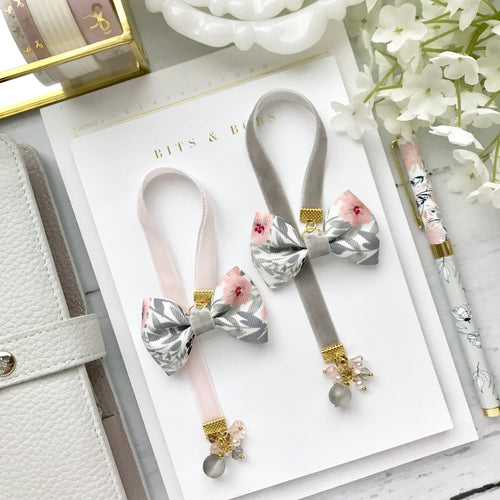 Grey and Pink Floral Bow Charm Bookmark