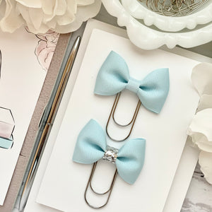 Ice Blue Ribbon Bow on Wide Silver Paperclip