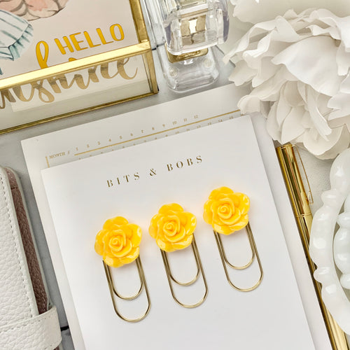 Yellow Rose Cabochon on Wide Gold Paperclip