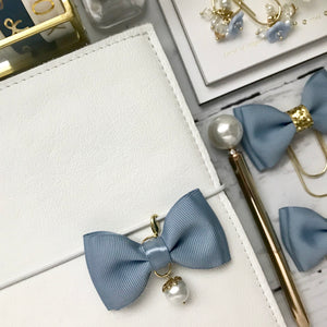 Dusty Blue Double Bow Planner Charm